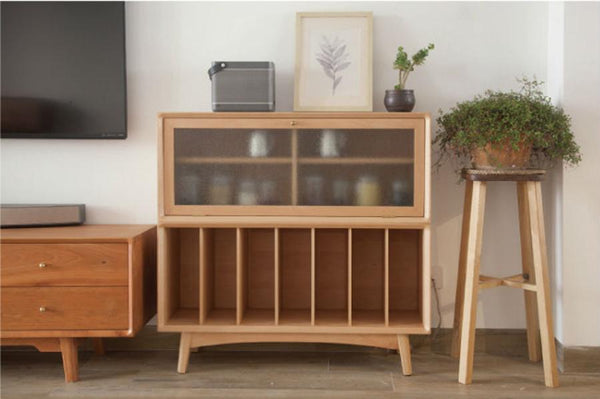 Combination Storage Bookcase Beech