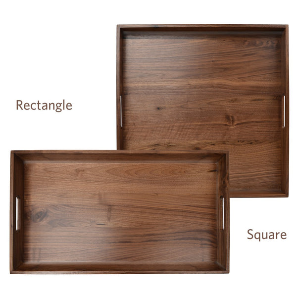 "Kingcraft 24""x13"" Extra Large Serving Tray With Handle Handmade Black Walnut Wooden Ottomans Tray"