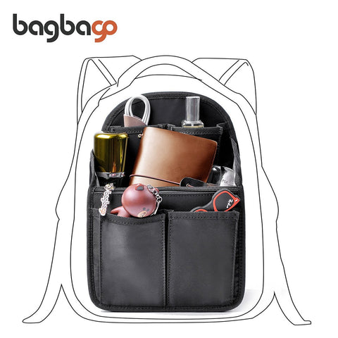 bag in bag Backpack Insert Organizer Diaper Shoulders Bag Handbag Organizer fit MCM(Mini Black)