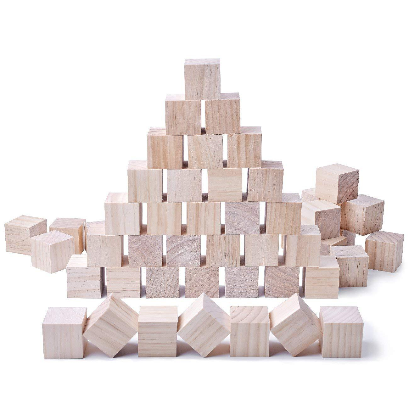 2Inch Solid Wood Craft Blocks 24PCS