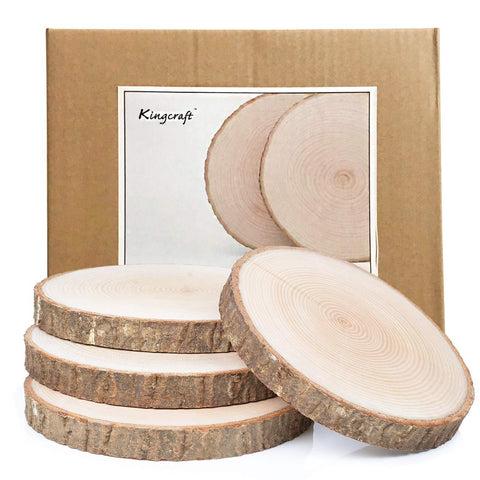 4 Pack Large Natural Wood