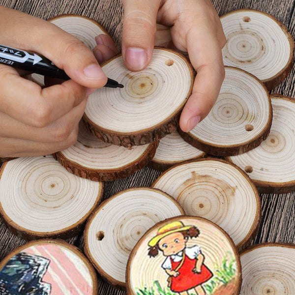 30Pcs Natural Fir Wood Slices