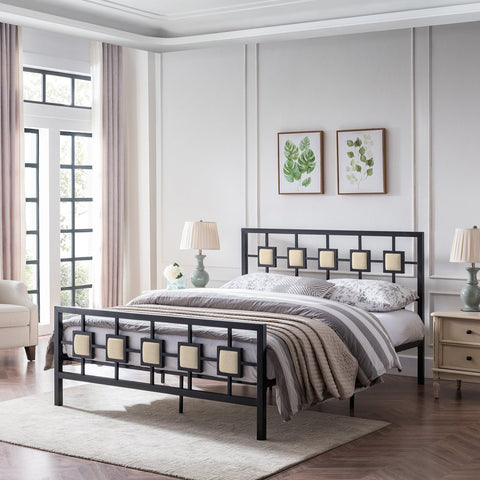Modern Iron Bed Frame With Upholstered Details