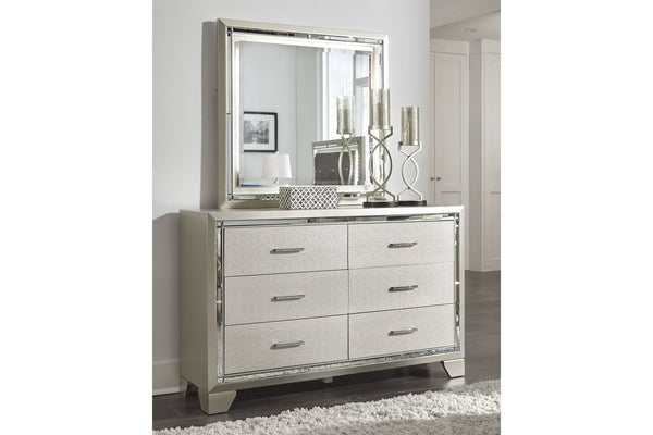 6 modern Drawers Dresser with Mirror