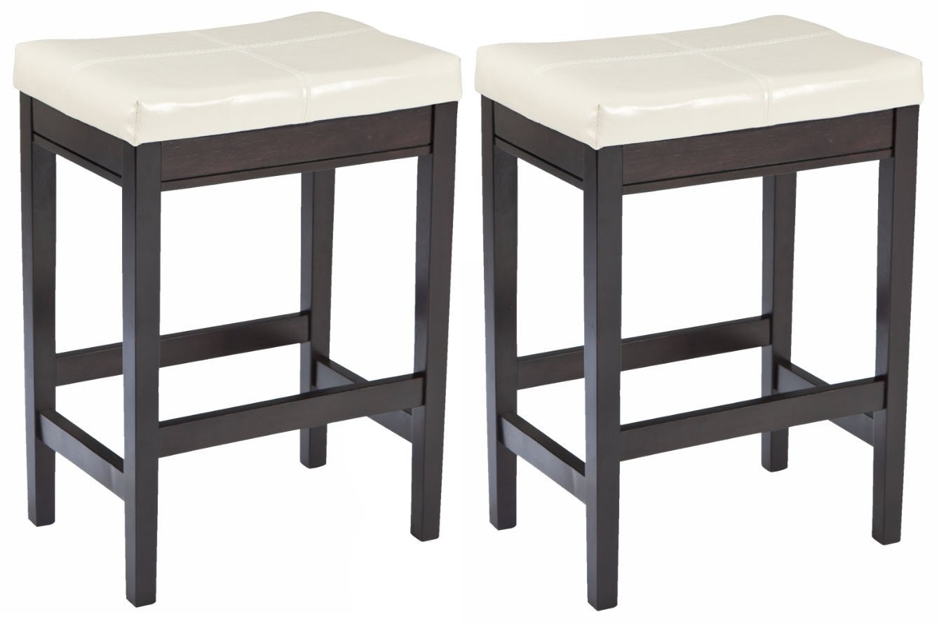Set of 2 Square Bar Stool,Ivory with Black