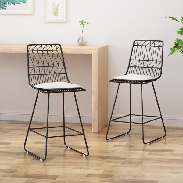 "Counter Stools, 26"" Seats, Modern, Geometric, Black Iron Frames With Ivory Cushion (Set Of 2)"