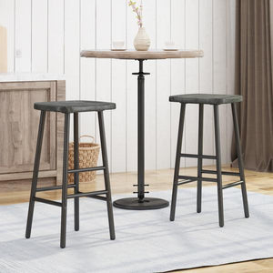 Bar Stools, Pine Veneer, Iron Frame (Set Of 2)