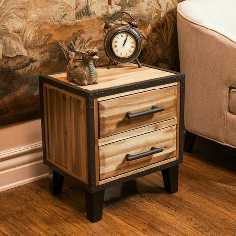 Lochmere Natural Stain Solid Wood Two Drawer Nightstand
