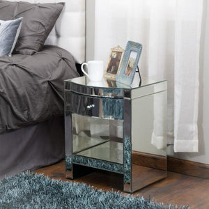 Jacobsen Mirrored Single Drawer Nightstand