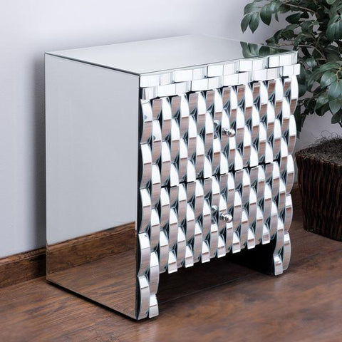 Jessica Mirrored 2-Drawer Nightstand Cabinet