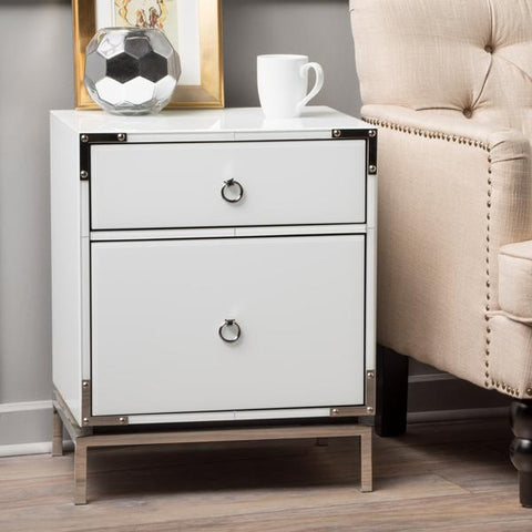 Penelope White Glass 2 Drawer Bedside Table