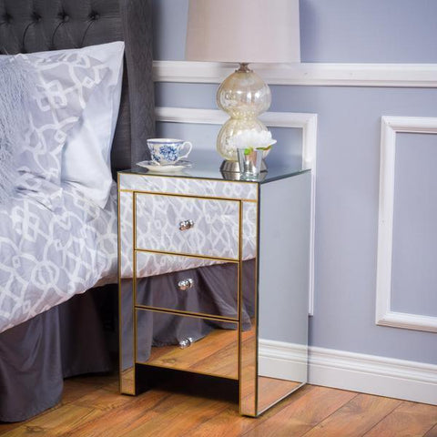 Arnold Mirrored 3 Drawer Side Table