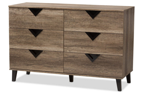 Modern Wood 6-Drawer Dresser