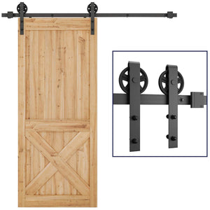 6.6 FT Sliding Barn Door Hardware Kit(Bigwheel Shape)