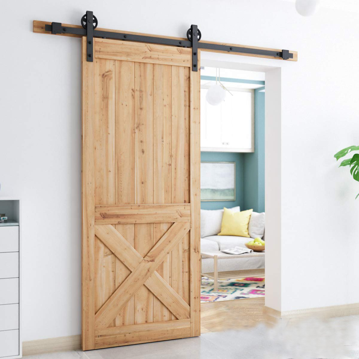 5 FT Sliding Barn Door Hardware Kit(Bigwheel Shape)