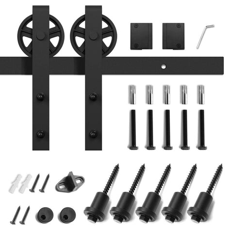 10 FT Sliding Barn Door Hardware Kit(Bigwheel Shape)