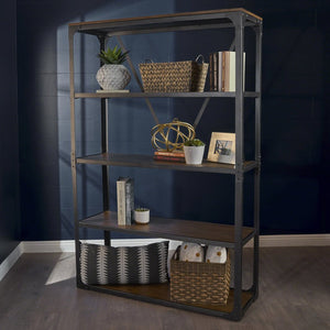 Industrial Metal Faux Wood Overlay Book Shelf