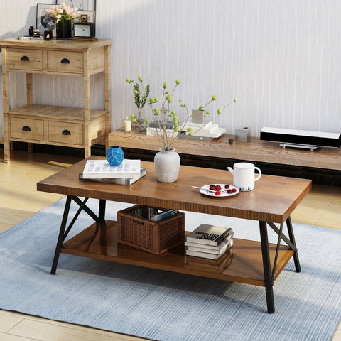 Industrial Faux Wood Coffee Table