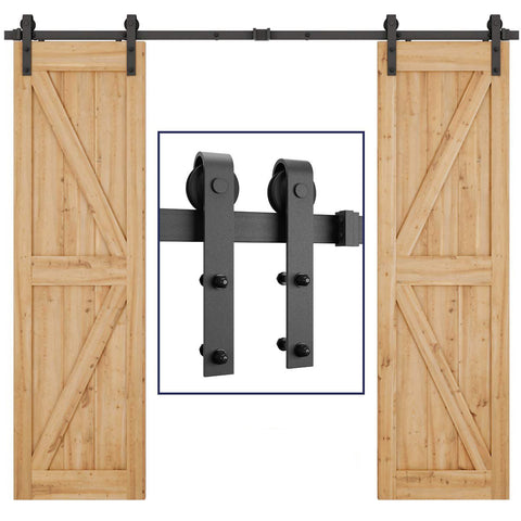 8ft  Sliding Barn Door Hardware Kit (J Shape)