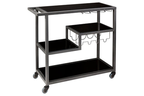 Three layers of black bar cart