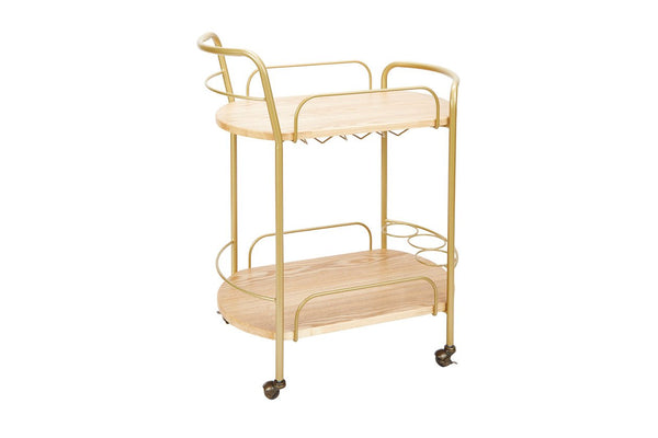 Rolling 2-Tier Gold Finish Bar Cart