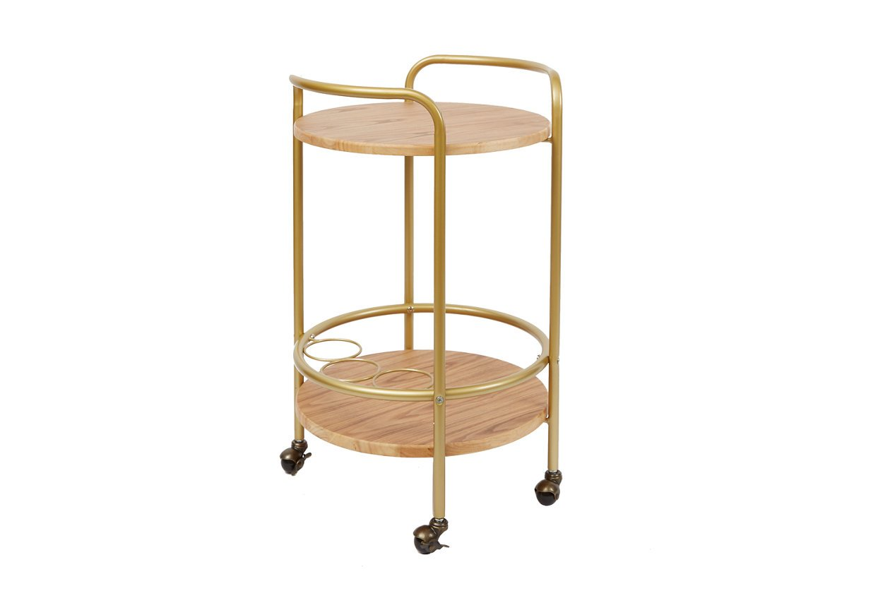 Rolling Round 2-Tier Gold Finish Bar Cart