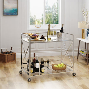 Industrial Modern Iron And Glass Bar Cart, Silver