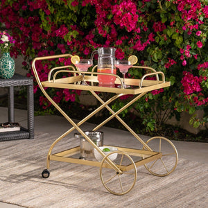 raditional Iron And Glass Bar Cart