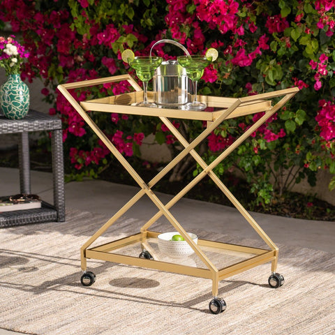 Powder Coated Iron And Glass Bar Cart, Gold
