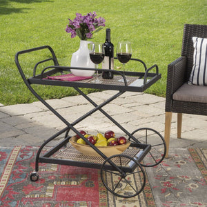 raditional Black Powder Coated Iron Bar Cart With Tempered Shelves