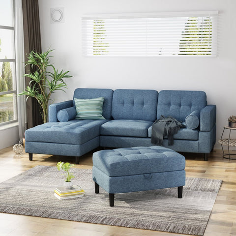 Upholstered Chaise Sectional Sofa Set