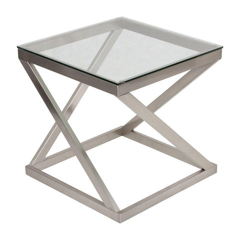 Glass Top Square End Table