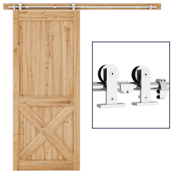 6.6 FT Sliding Barn Door Hardware Kit Single Rail(T Shape)
