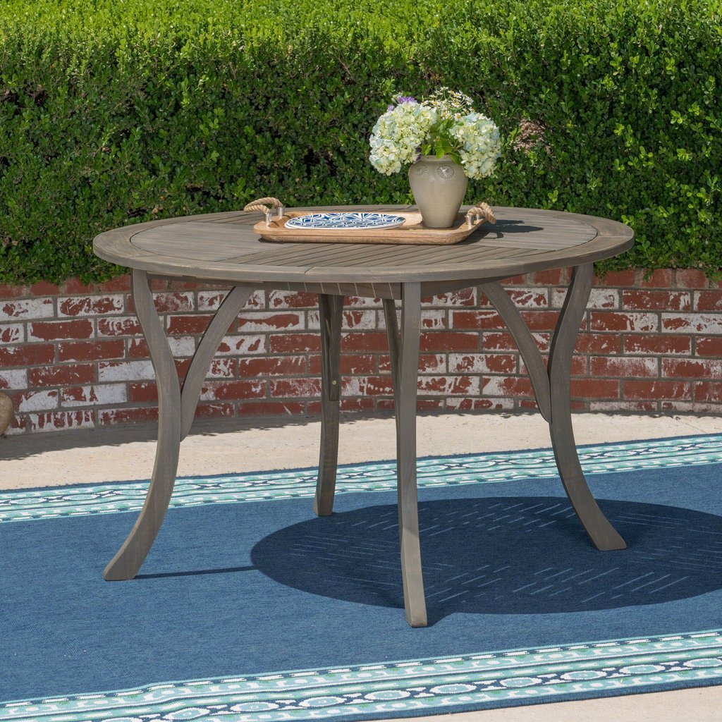 Outdoor 47-Inch Round Acacia Wood Dining Table