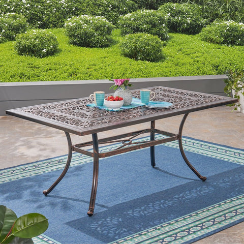 Rectangular Cast Aluminum Dining Table