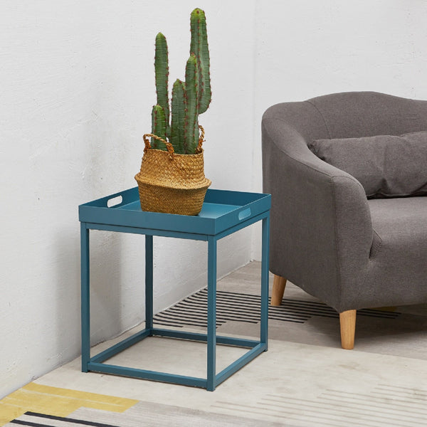 Side Tables with Metal Removable Serving Square Tray