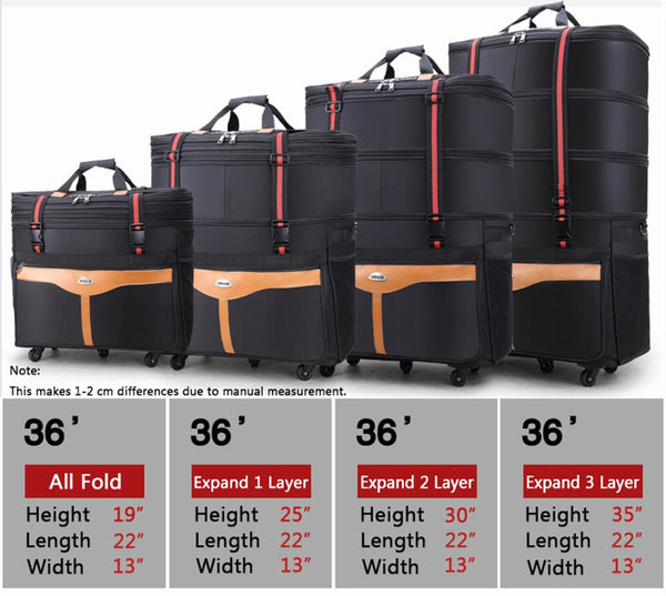 ailouis 36 Inch Expandable Extra Large Wheeled Travel Duffel Luggage Bag (Black 2)
