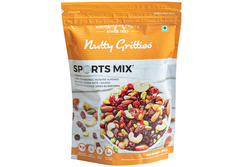 Sports Mix - Roasted Almonds, Cashews, Pistachios, Dried Blueberries, Cranberries and Raisins - 350 GMS