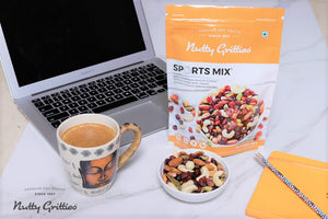 Snack on Nutty Gritties Sports Mix while working with your cup of cofffee