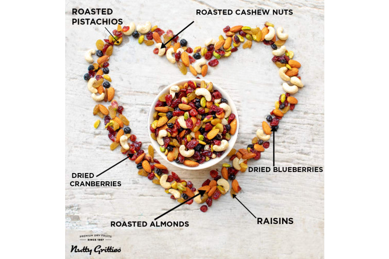 Ingredients of Sports Mix: Roasted almonds, cashew nuts, pistachio kernels, cranberries, blueberries, raisins.