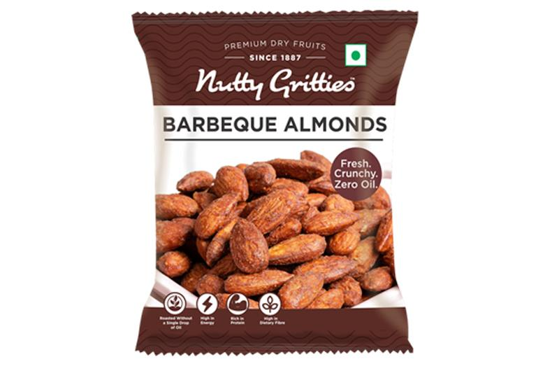 Nutty Gritties Barbeque Almonds (Pack of 3 - 48g Each) 144gms