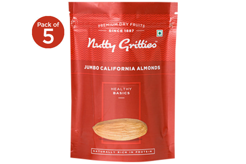 Jumbo California Almonds 1 kg ( Pack of 5, 200 g Each )