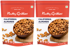 California Almonds (100% Natural) (Pack of 2 - 1kg each) - 2Kg