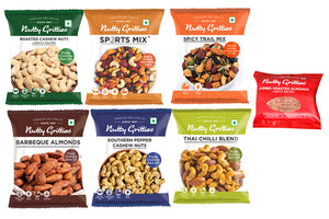 Signature gift Box - Thai Chilli Blend 24g, Sports Mix 30g, Barbeque Almonds 21g, Southern Pepper Cashew Nuts 21g, Roasted Almonds- lightly salted 21g, Roasted Cashews- lightly salted 21g, Spicy Trail Mix 24g - 141 grams ( Each Pack 1 )