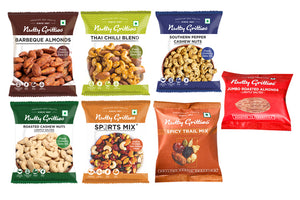 Nutty Gritties Mixed Flavored Dry Fruits 165g (Pack of 7) + Auric Natural Low-Calorie Juice (Pack of 3) + Diwali Greeting Card