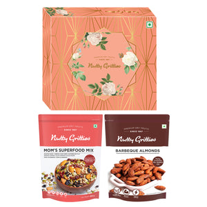 Nutty Gritties Diwali Gift Salted Almonds 200g + Salted Cashew 200g + Salted Pista 200g + Darkins Roasted Almonds 70% Dark Chocolate + Diwali Greeting Card + Candles (Pack of 2)