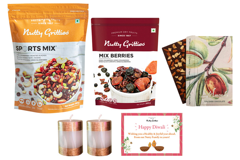 Nutty Gritties Sports Mix 350g + Nutty Gritties Mix Berries 200g + Darkins 70% Artisanal Dark Chocolate with Roasted Almonds + Diwali Greeting Card+ Candles (Pack of 2)