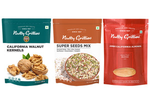 Nutty Gritties Combo - Jumbo California Almonds, California Walnuts, Super Seeds Mix, 200g Each (600g)