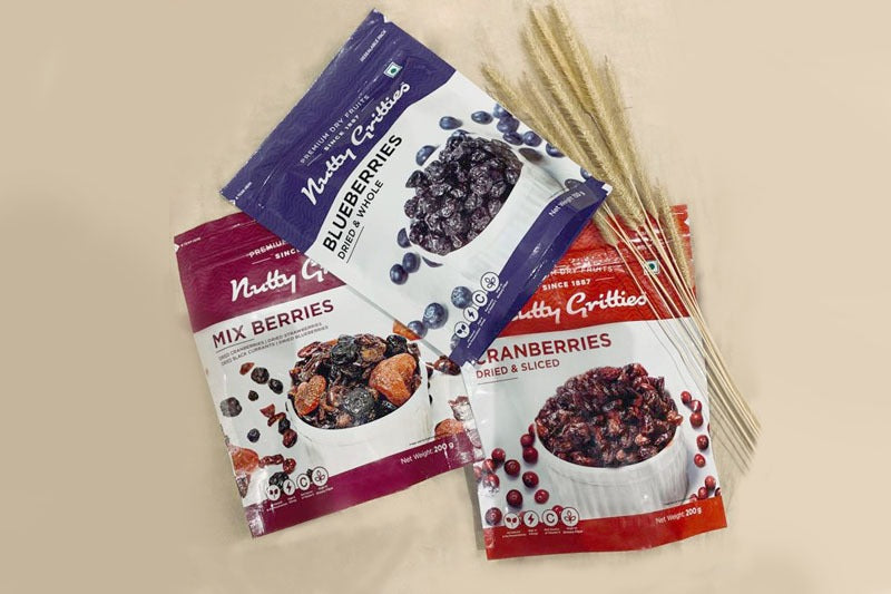 Dried Cranberries 200 g, Blueberries 150 g and Mix Berries 200 g, Combo- 550g