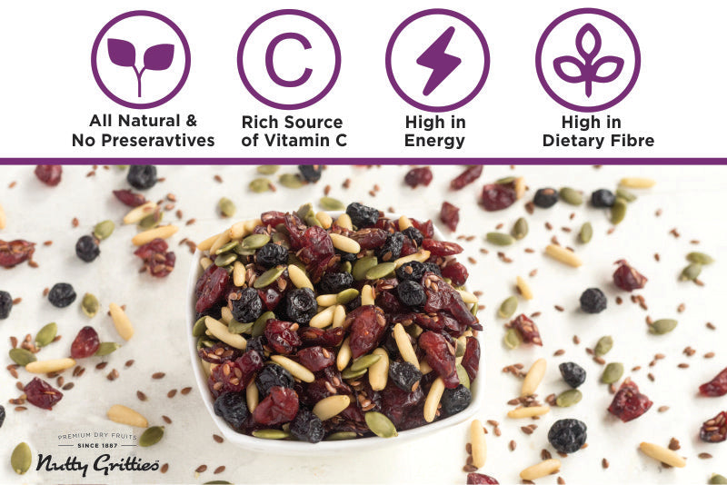 Nutty Gritties Berry Boost, Dried Cranberries, Dried Blueberries, Pumpkin Seeds, Flax Seeds, Pine Nuts - 200g(Pack of 1)